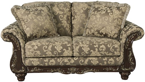 Signature Design by Ashley Irwindale Traditional Loveseat with Ornate Trim & Gold Finish Tipping