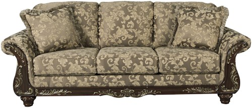 Signature Design by Ashley Irwindale Traditional Sofa with Ornate Trim & Gold Finish Tipping