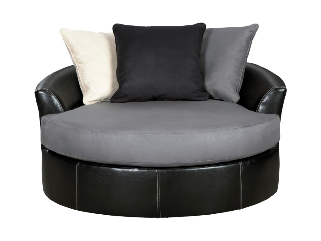 Jacurso Contemporary Round Oversized Swivel Accent Chair By Signature Design Ashley