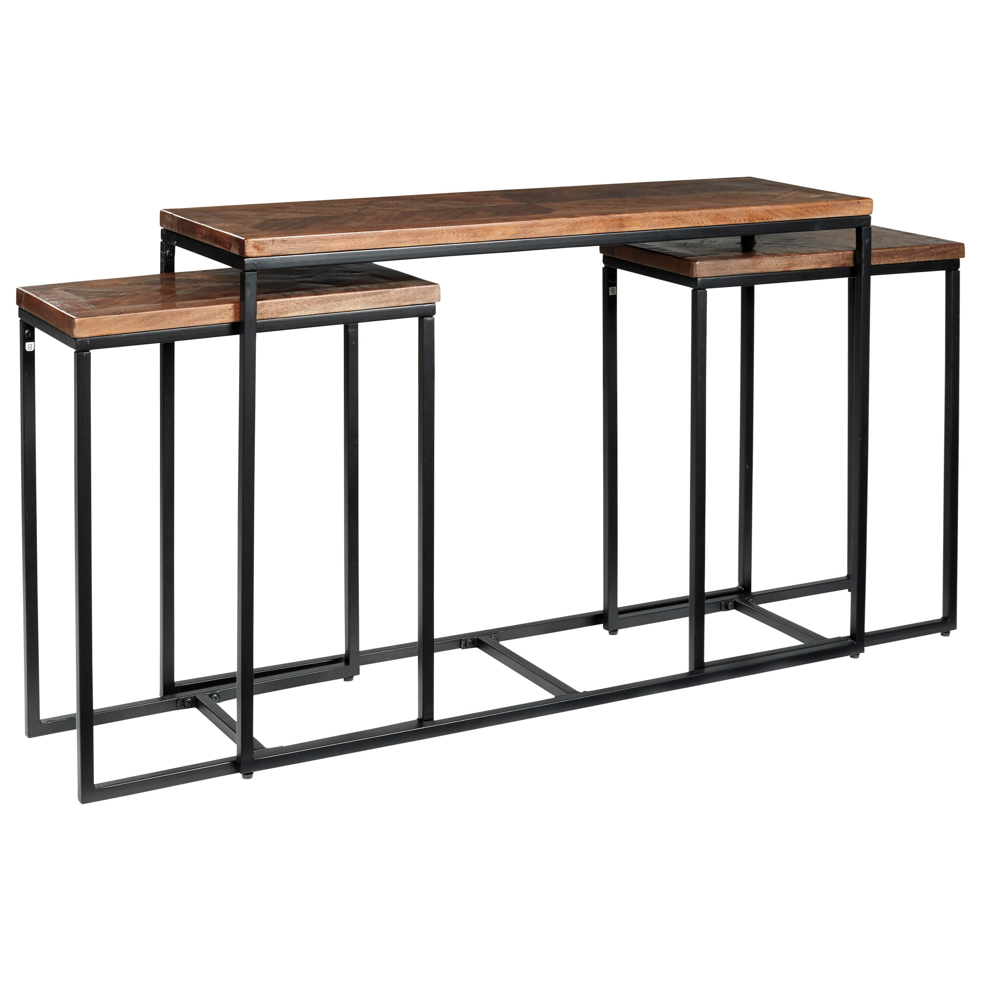 Nesting 3-Piece Console Table Set with Herringbone Design Tops