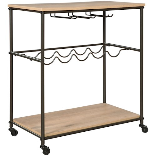 Signature Design by Ashley Jadonport Bar Cart with Wine Bottle and Stemware Storage
