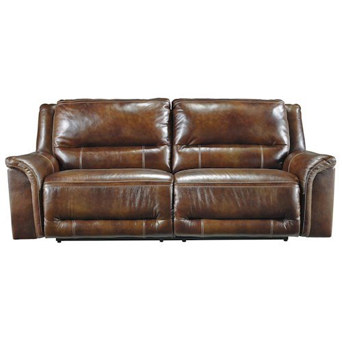 Signature Design by Ashley Jayron Contemporary Leather Match 2 Seat Reclining Power Sofa