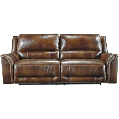 Signature Design By Ashley Jayron Contemporary Leather Match 2 Seat Reclining Sofa