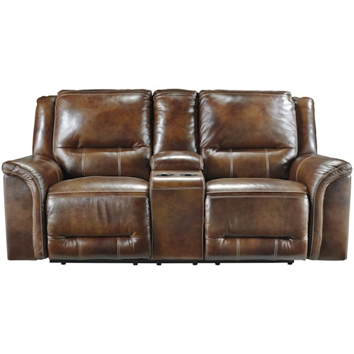 Signature Design by Ashley Jayron Contemporary Leather Match Double Reclining Loveseat w/ Console