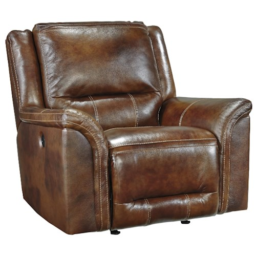 Signature Design by Ashley Jayron Contemporary Leather Match Power Rocker Recliner