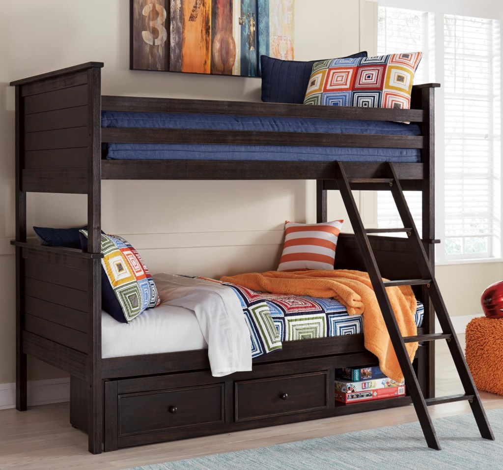 Signature Design By Ashley Jaysom Twin Twin Bunk Bed With Under Bed