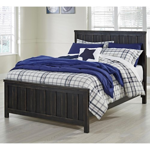 Signature Design by Ashley Jaysom Full Panel Bed in Rub Through Black Finish