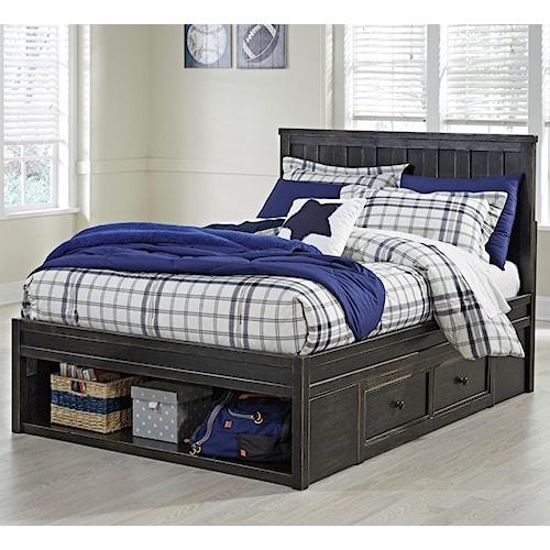 Signature Design by Ashley Jaysom Full Panel Storage Bed in Rub Through Black Finish