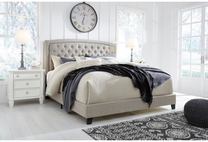 Signature Design By Ashley Jerary B090 781 Queen Upholstered Bed With Button Tufted Headboard Pilgrim Furniture City Upholstered Beds