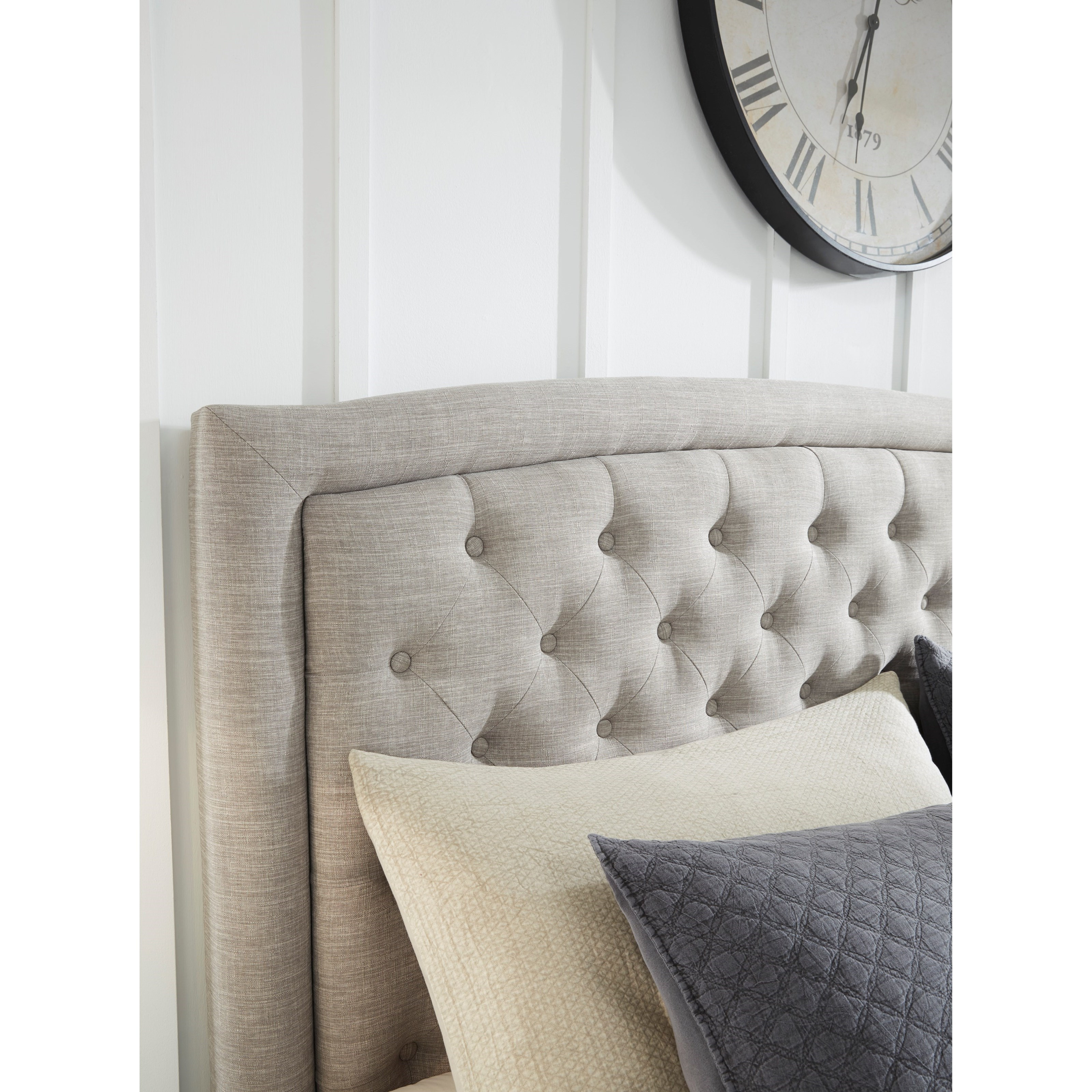 Signature Design By Ashley Jerary Queen Upholstered Bed With Button Tufted Headboard Wayside Furniture Upholstered Beds