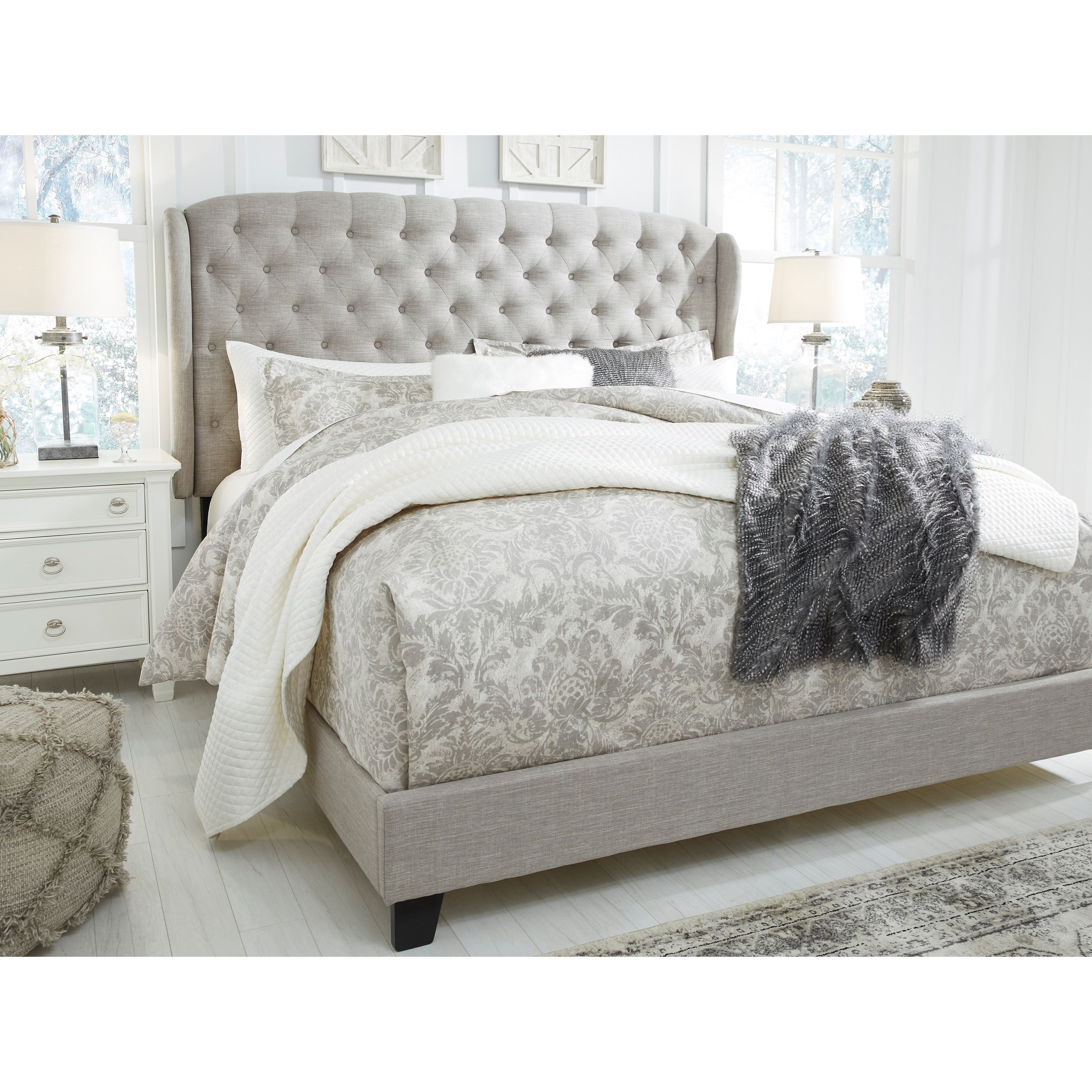 Signature Design By Ashley Jerary Queen Upholstered Bed With Tufted Wing Headboard Royal Furniture Upholstered Beds