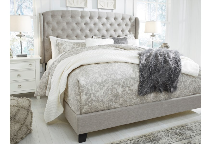 Signature Design By Ashley Jerary King Upholstered Bed With Tufted Wing Headboard Standard Furniture Upholstered Beds