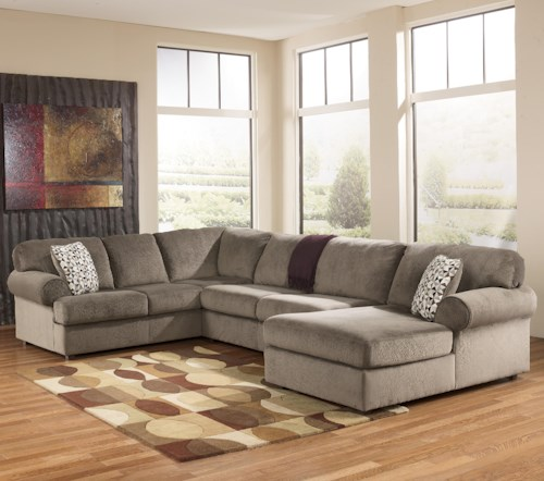 Signature Design By Ashley Jessa Place Dune Casual Sectional Sofa With Right Chaise