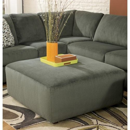 Signature Design by Ashley Jessa Place - Pewter Casual and Contemporary Oversized Accent Ottoman
