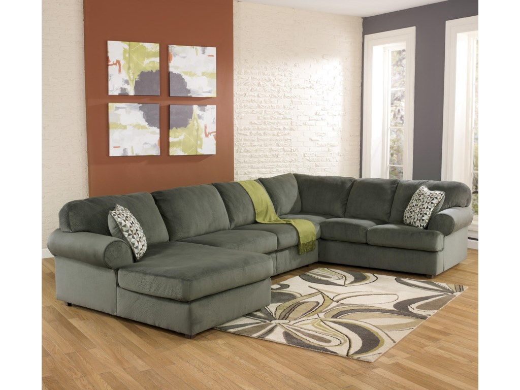 Furniture stores in aberdeen sd - Signature Design By Ashley Jessa Place Pewter Casual Sectional Sofa With Left Chaise Conlin S Furniture Sofa Sectional