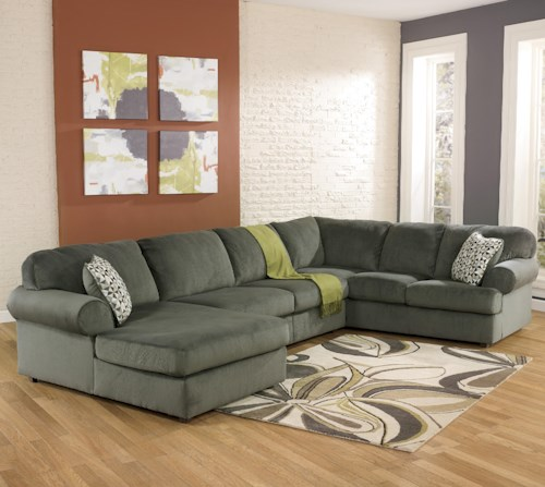 Signature Design by Ashley Jessa Place - Pewter Casual Sectional Sofa with Left Chaise