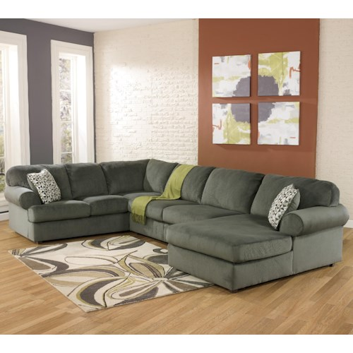 Signature Design by Ashley Jessa Place - Pewter Casual Sectional Sofa with Right Chaise