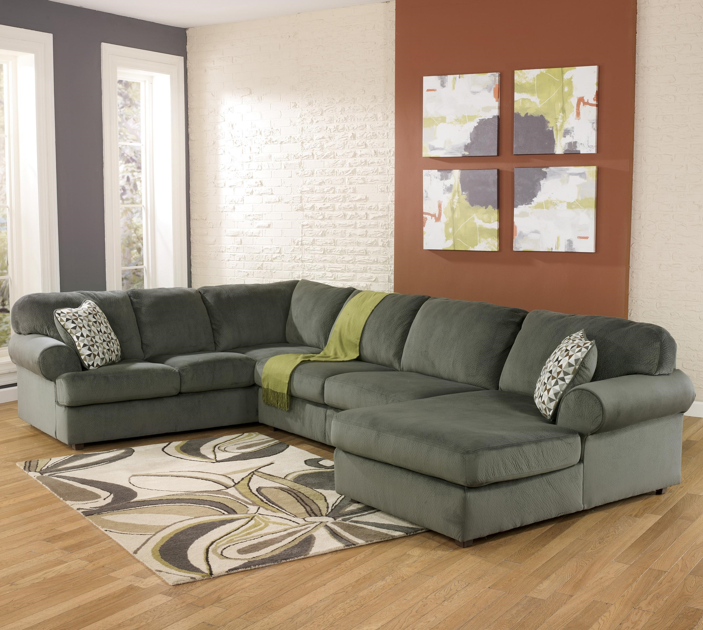 Signature Design By Ashley Jessa Place   Pewter Casual Sectional Sofa With  Right Chaise