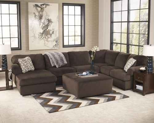 Signature Design by Ashley Jessa Place  - Chocolate Stationary Living Room Group