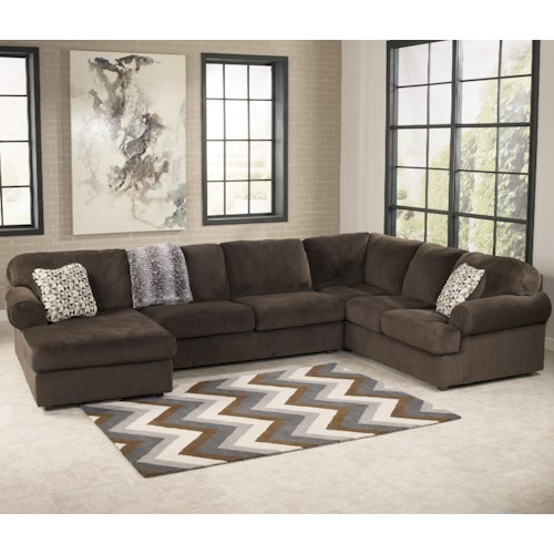 Signature Design by Ashley Jessa Place  - Chocolate Casual Sectional Sofa with Left Chaise