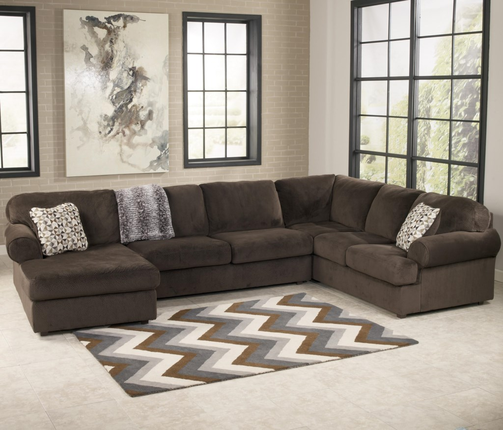 Signature Design By Ashley Jessa Place Chocolate Casual  ~ Chocolate Sectional Sofa Set With Chaise