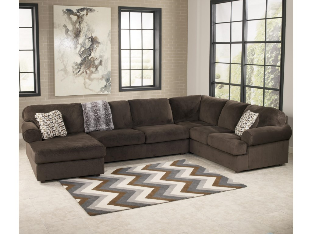 Jessa Place - Chocolate Sectional Sofa with Left Chaise