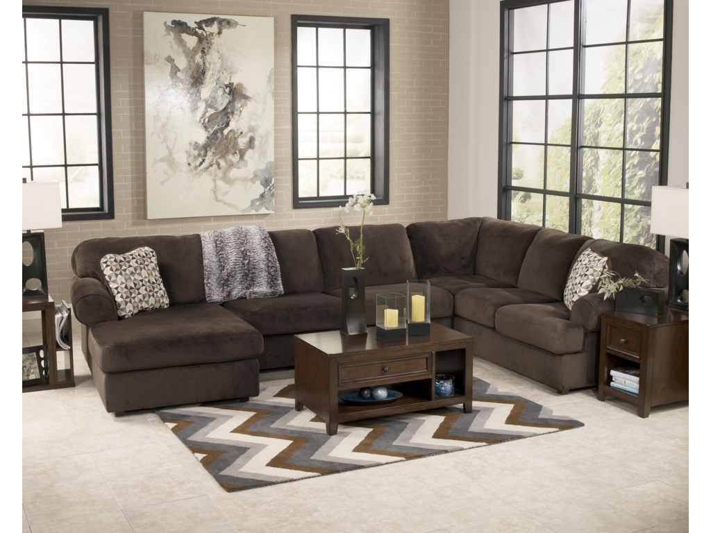 Signature Design by Ashley Jessa Place  - ChocolateSectional Sofa with Left Chaise