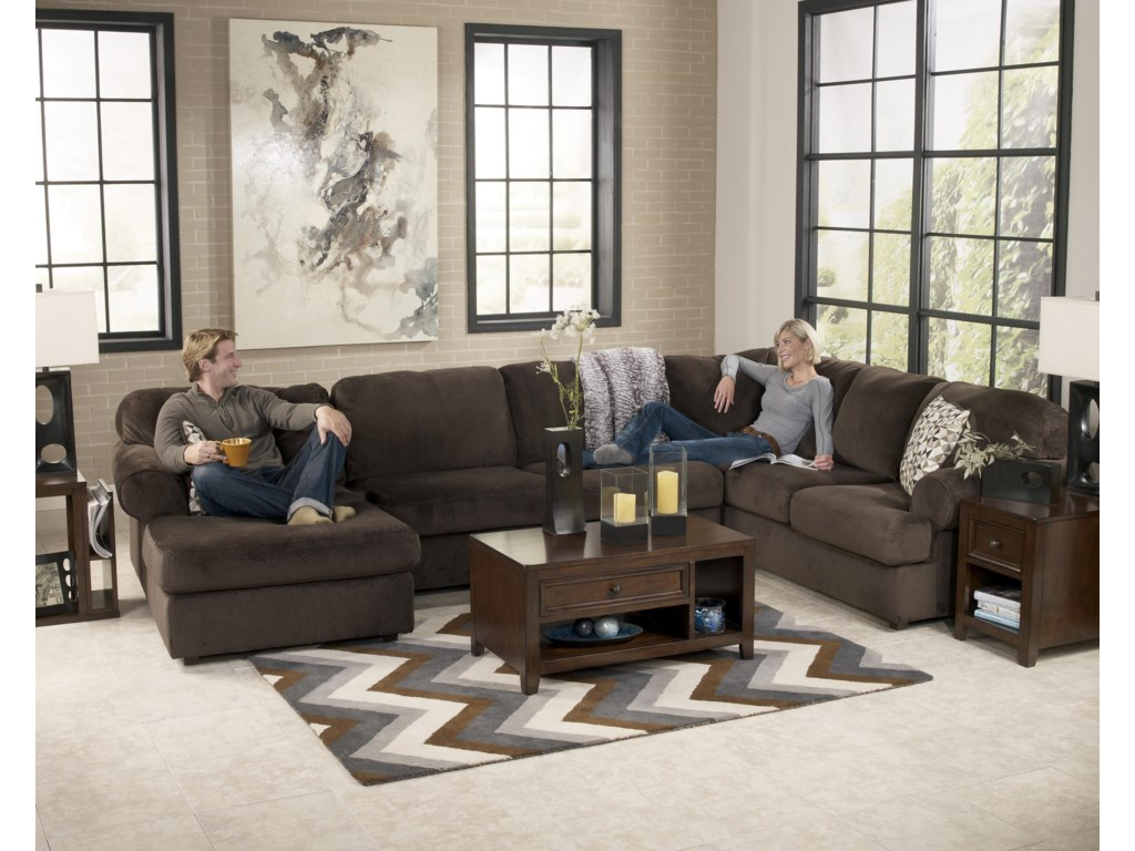 Jessa Place - Chocolate Casual Sectional Sofa with Left Chaise by Ashley  Signature Design at Dunk & Bright Furniture