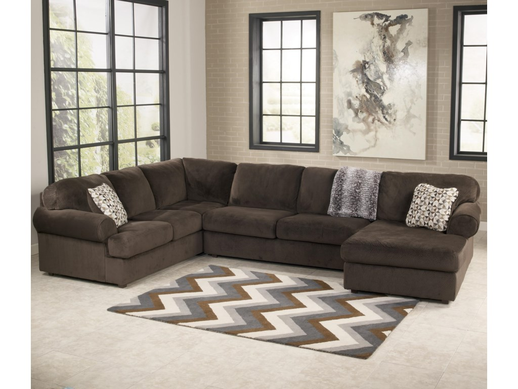 Signature Design By Ashley Jessa Place Chocolatesectional Sofa With Right Chaise