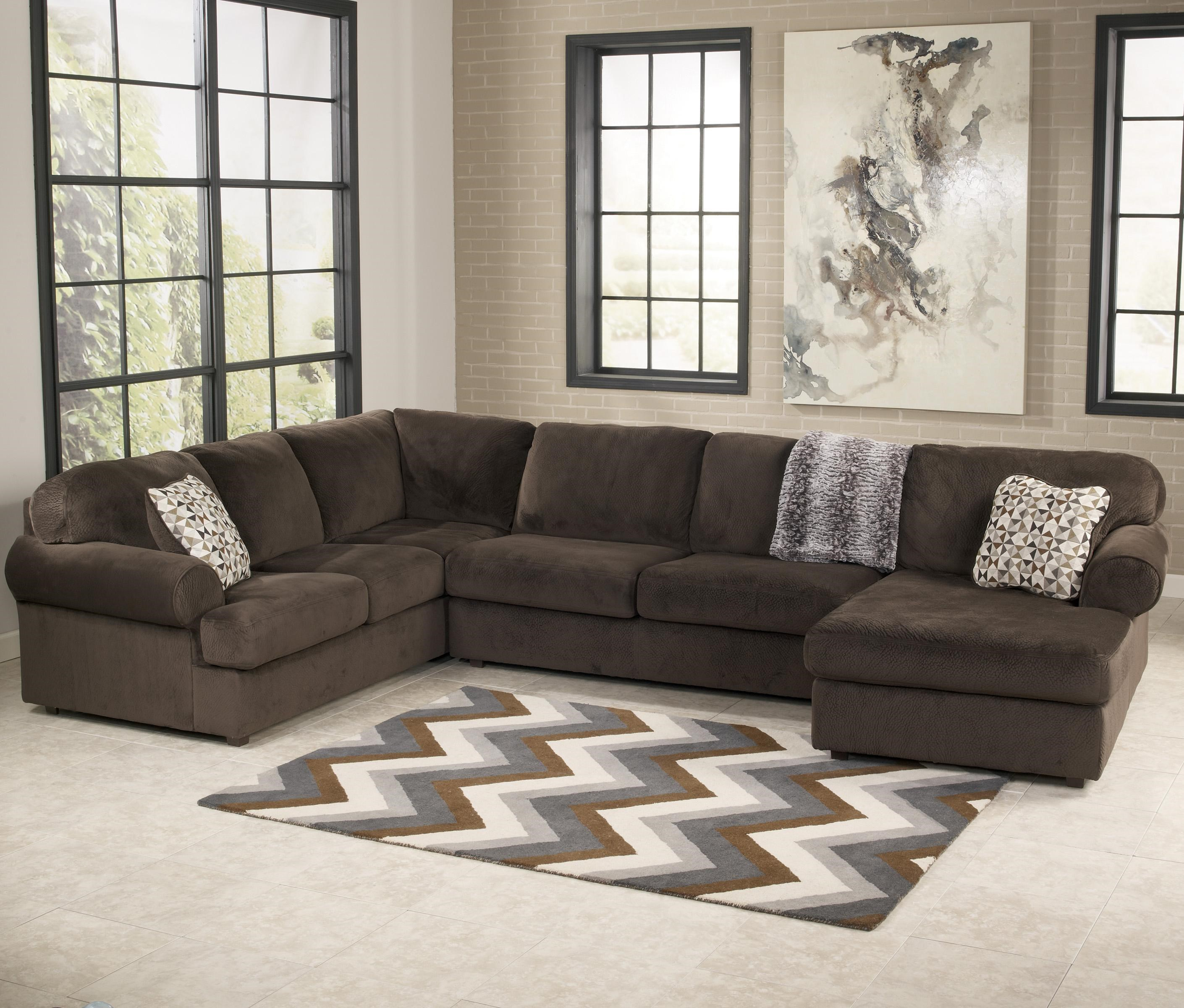 Signature Design By Ashley Jessa Place   Chocolate Casual Sectional Sofa  With Right Chaise