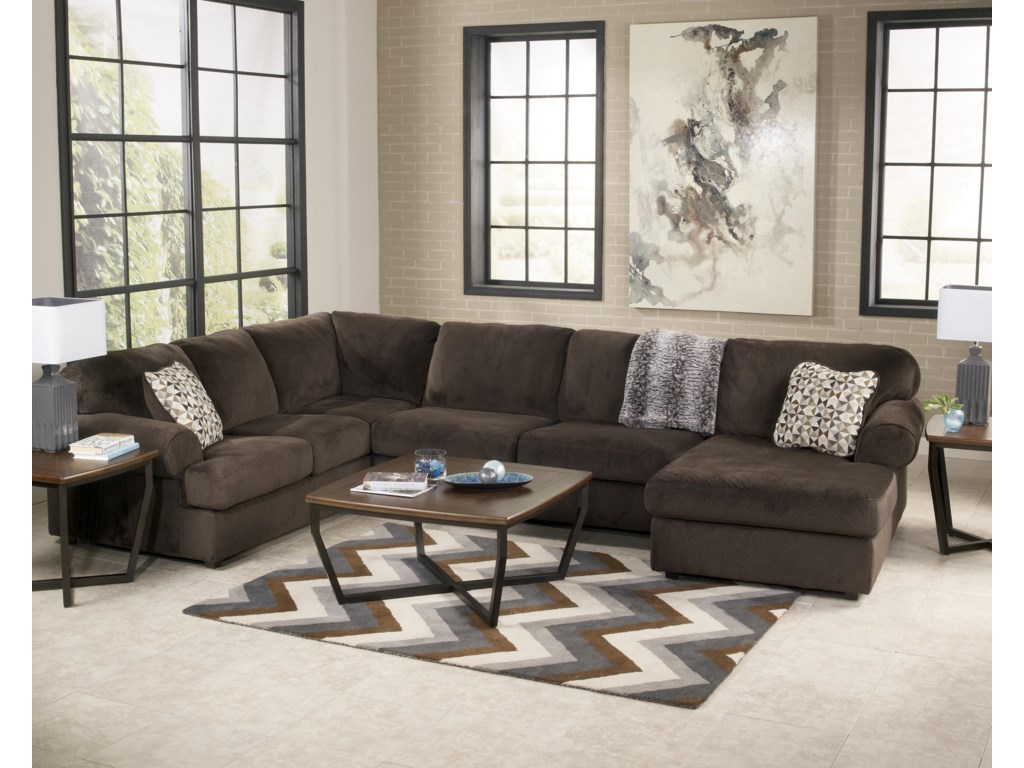 Signature Design by Ashley Jessa Place  - ChocolateSectional Sofa with Right Chaise