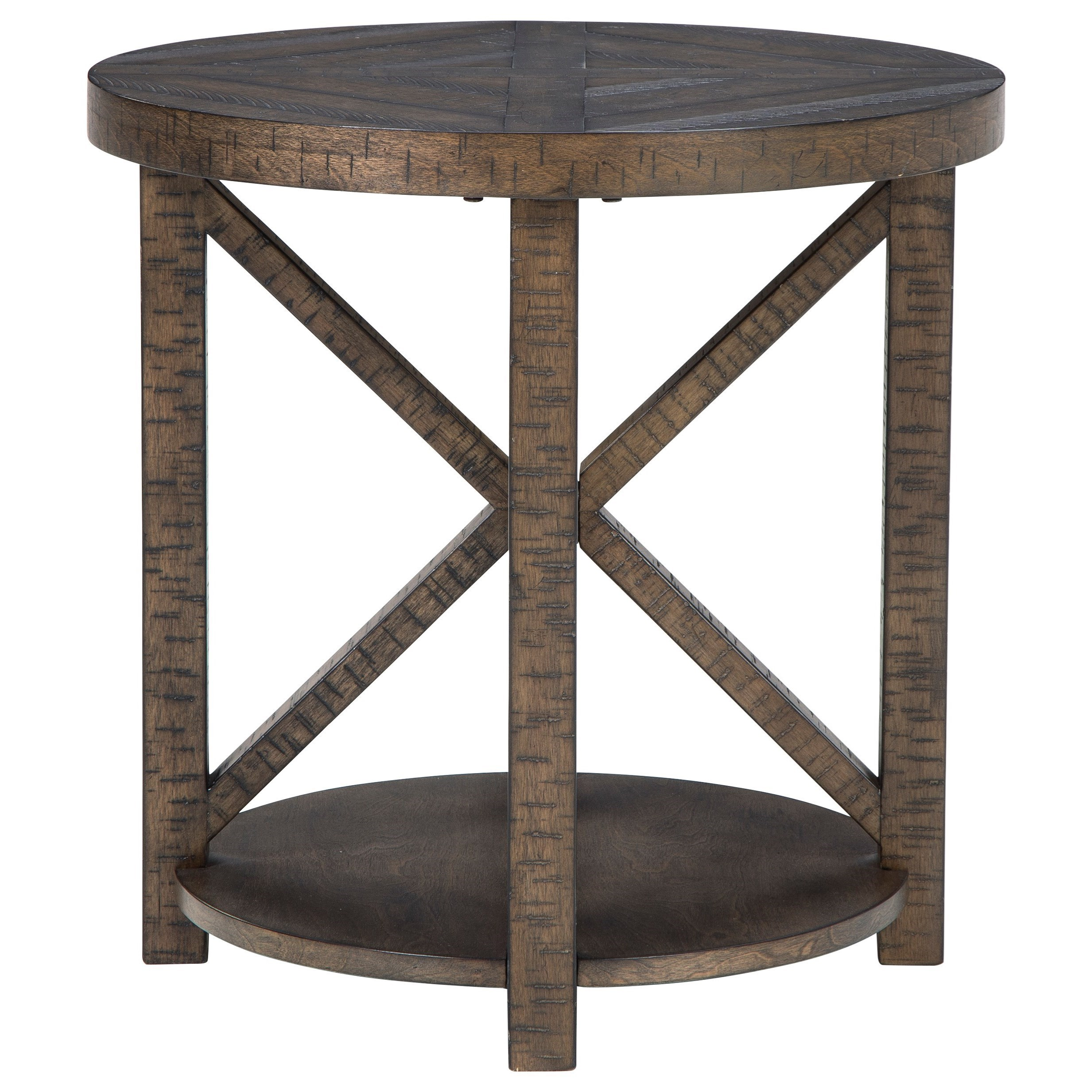 Rustic Round End Table with Shelf