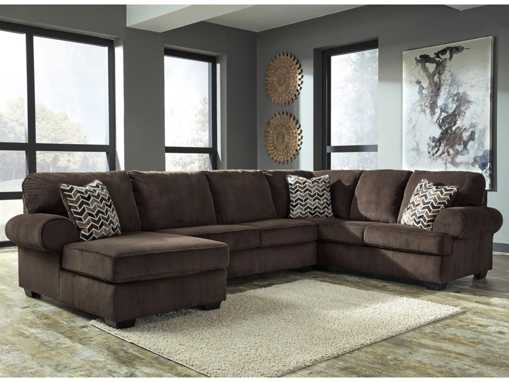 Jinllingsly Contemporary 3-Piece Sectional with Left Chaise in Corduroy  Fabric by Signature Design by Ashley at Household Furniture