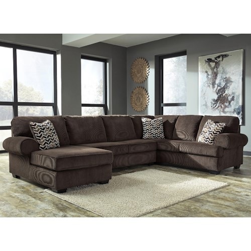 Signature Design by Ashley Jinllingsly Contemporary 3-Piece Sectional with Left Chaise in Corduroy Fabric