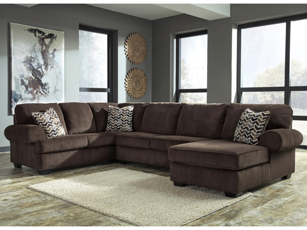 Jinllingsly Contemporary 3-Piece Sectional with Right Chaise in Corduroy  Fabric by Signature Design by Ashley at Wayside Furniture