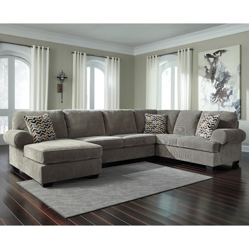 Signature Design By Ashley Jinllingsly Contemporary 3 Piece Sectional With Left Chaise In Corduroy Fabric Boulevard Home Furnishings Sofas