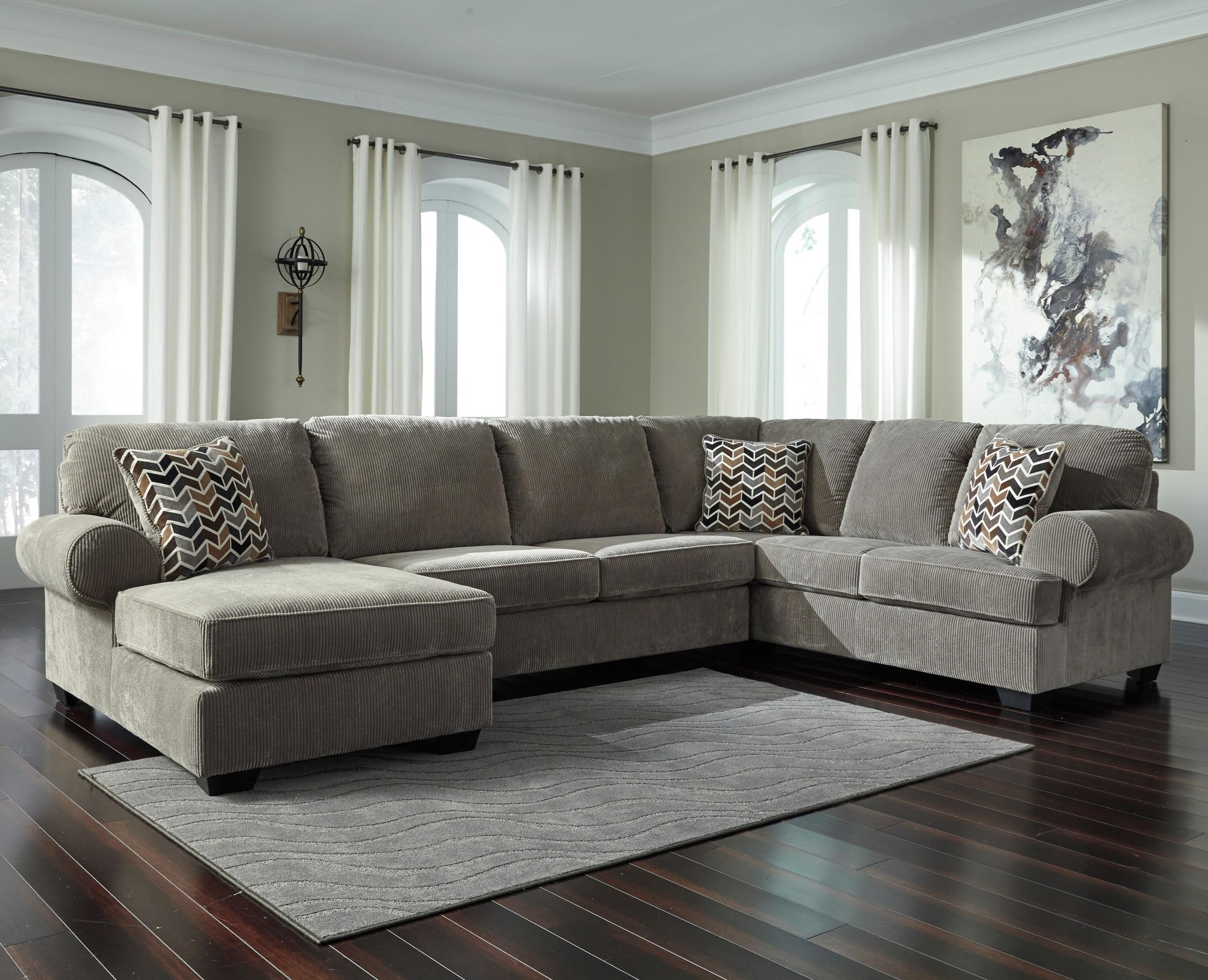 Signature Design By Ashley Jinllingsly Contemporary 3 Piece Sectional With  Left Chaise In Corduroy Fabric