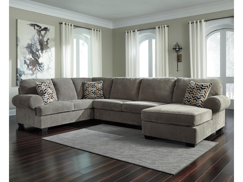 Jinllingsly Contemporary 3-Piece Sectional with Right Chaise in Corduroy  Fabric by Signature Design by Ashley at Royal Furniture