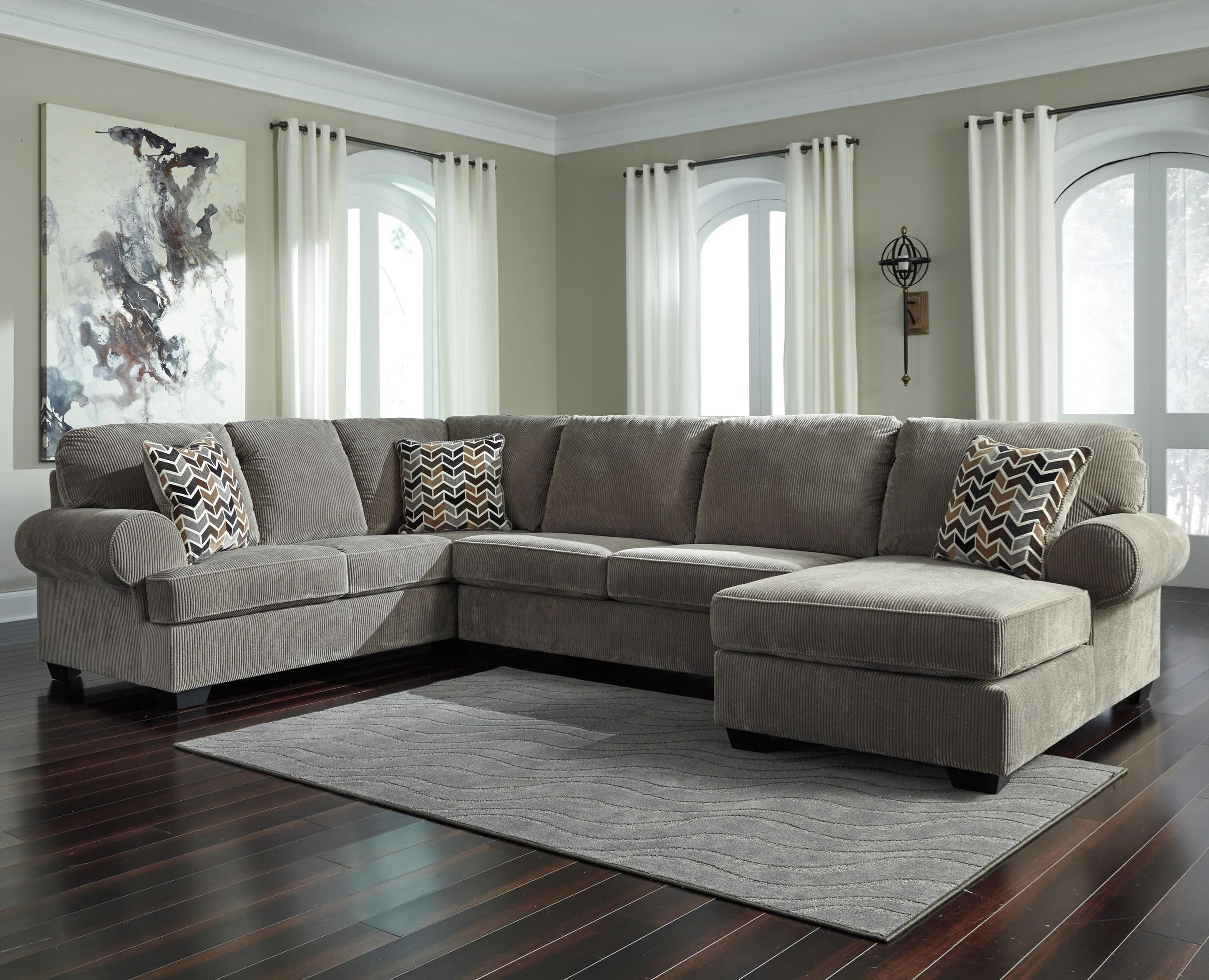 Signature Design By Ashley Jinllingsly Contemporary 3 Piece Sectional With  Right Chaise In Corduroy Fabric