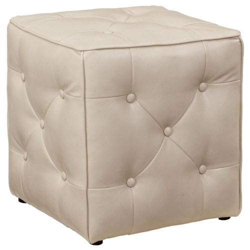 Signature Design by Ashley Jive Faux Leather Square Accent Ottoman with Button Tufting