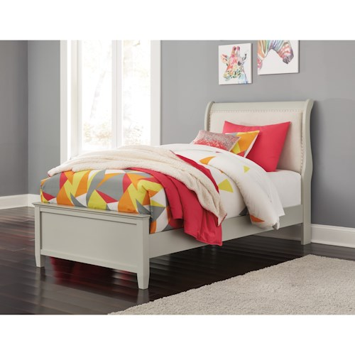 Signature Design by Ashley Jorstad Twin Upholstered Sleigh Bed