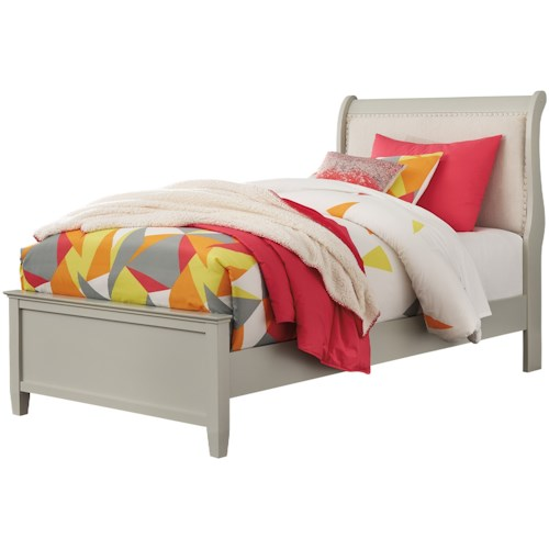 Signature Design by Ashley Jorstad Traditional Full Upholstered Sleigh Bed