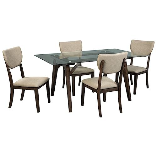 Signature Design by Ashley Joshton Contemporary 5 Piece Rectangular Table Set
