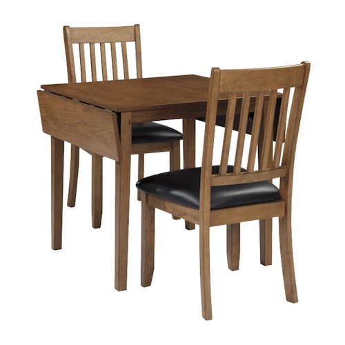 Signature Design by Ashley Joveen 3-Piece Drop Leaf Dining Table and Upholstered Chair Set