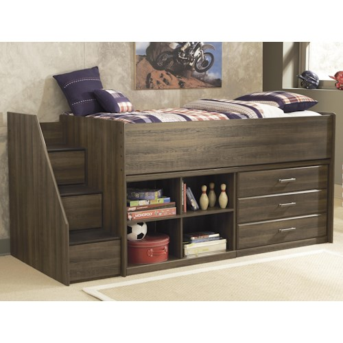 Signature Design by Ashley Juararo Twin Loft Bed with Left Storage Steps, Bookcase & Chest