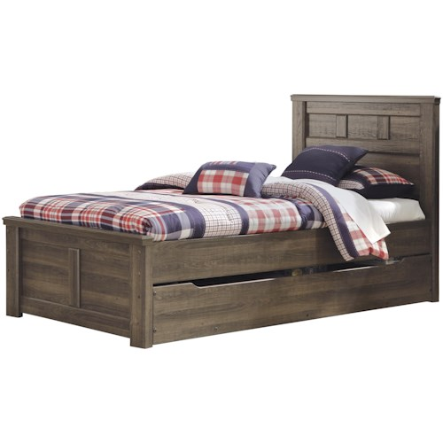 Signature Design by Ashley Juararo Transitional Twin Panel Bed w/ Under Bed Storage