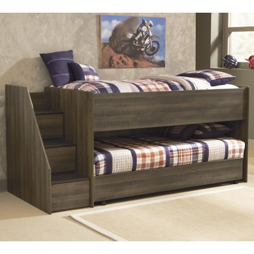 Signature Design by Ashley Juararo Twin Loft Bed w/ Left Storage Steps & Twin Caster Bed