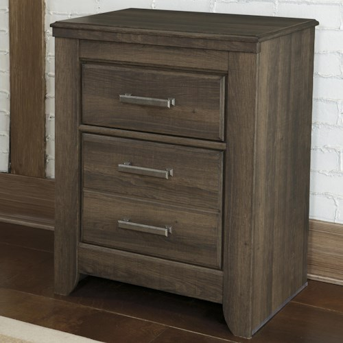 Signature Design by Ashley Juararo 2-Drawer Night Stand with Pewter Accent Hardware