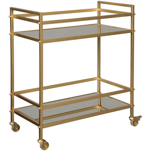 Signature Design by Ashley Kailman Gold Bar Cart with Mirrored Shelves