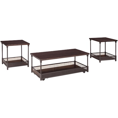 Signature Design by Ashley Kalmiski Wood/Metal 3-Piece Occasional Table Set with Gallery Rails